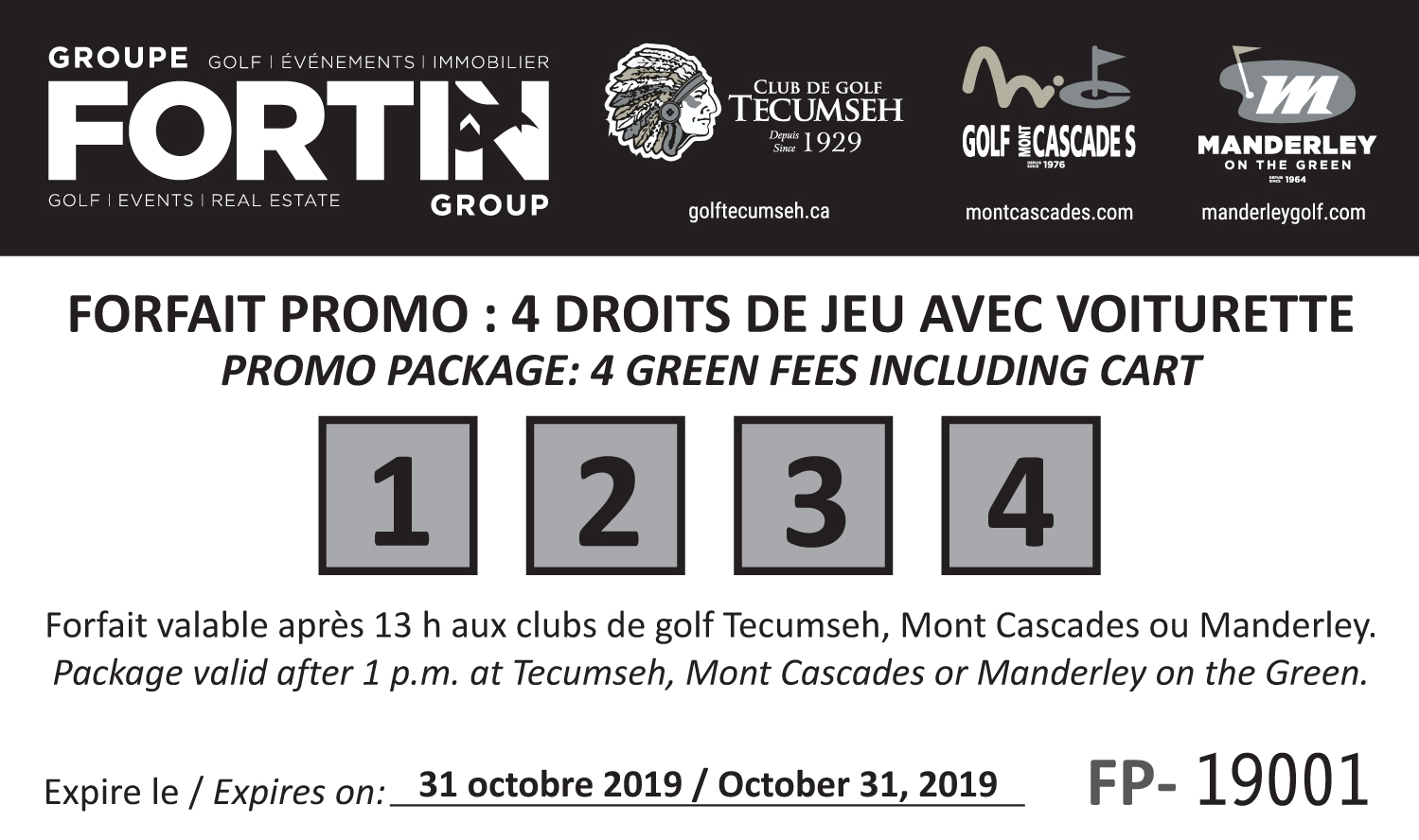 PROMO #1 – 4 Green Fees including Cart (after 1pm)